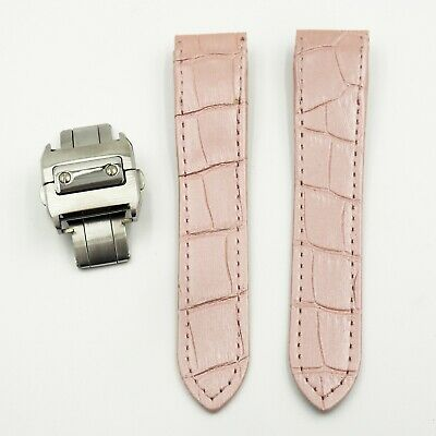 20Mm Pink Alligator-Embossed Calf Leather Strap For Santos De Cartier