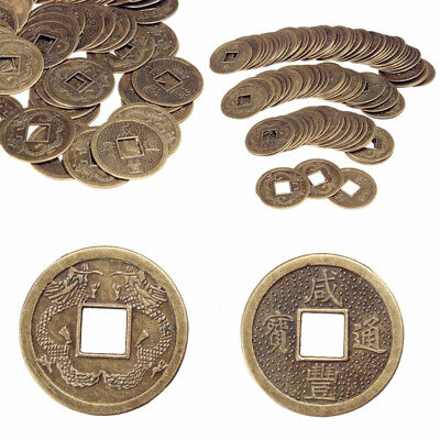 100 x New Chinese Feng Shui Brass Coins Fortune Oriental Emperor Money MJE