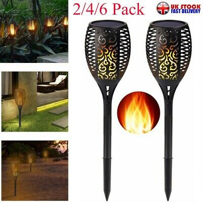 2/4/6X/Set Solar Dancing Flame LED Torch Stake Flickering Outdoor Garden Lights