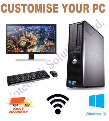 Full Dell/Hp Dual Core Sff Desktop Tower Pc & Tft Computer System Windows 10