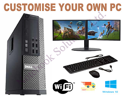 ULTRA FAST Gaming PC Bundle Intel Core i5 8GB 1TB Windows 10 GT710 DUAL SCREEN