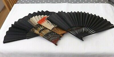 Five Vintage Hand Held Fans All Need Attention Wood/Paper Construction (Fs49)