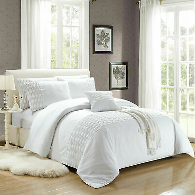 White Wrinkled Duvet Cover Bedding Set With Pillow Cases Single Double King Size