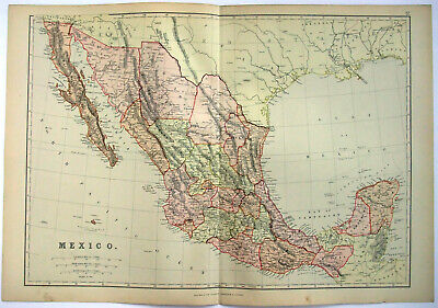 Original 1882 Map of Mexico by Blackie & Son. Antique.