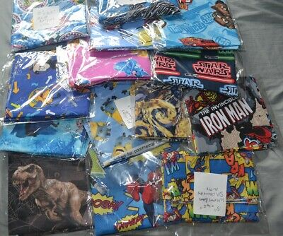14 Piece Of Mixed Sizes Fabric  Dr Who,Iron Man,Frozen ,Cars Batgirl  (Lot A  )