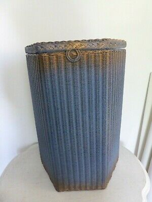 Vintage Lloyd Loom Style Blue Gold Hexagonal Laundry Basket with Hinged Lid