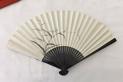 Vintage Chinese Hand Held Fan Hand Painted Wood/Paper Construction (Fs68)