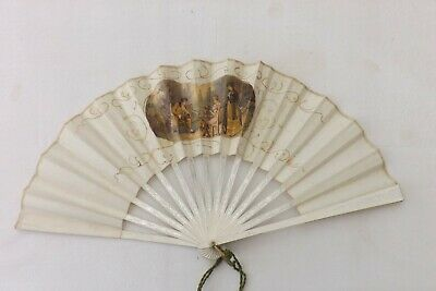 Vintage French Hand Held Fan Painted Wood/Silk Construction (Fs76)
