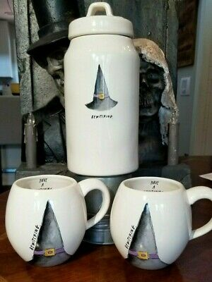 """Rae Dunn """"BEWITCHING"""" Witch's Hat HALLOWEEN Mugs & Canister 3 Pcs *NEW 2019*"""