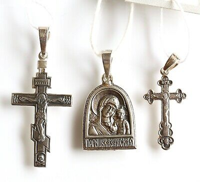 Antique Christian Save and Protect Prayer 3Item Set Silver 925 Russian Orthodox