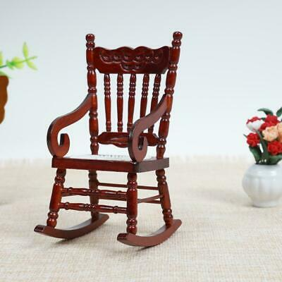Doll House Miniature Furniture Classic coffee Wooden Rocking Scale Chair UK Y1I7