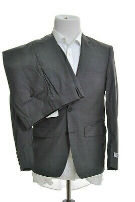 DKNY Mens Classic Fit Textured Charcoal Gray 2 Button 100% Wool Suit 38S 29W