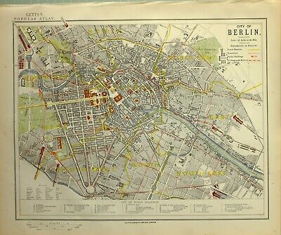 1882 Letts Map City Of Berlin Plan Railway Academy Cathedral Arsenal Hospital