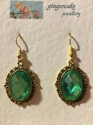VICTORIAN STYLE LIGHT GREEN ACRYLIC CRYSTAL FILIGREE GOLD P EARRINGS SNVG hook