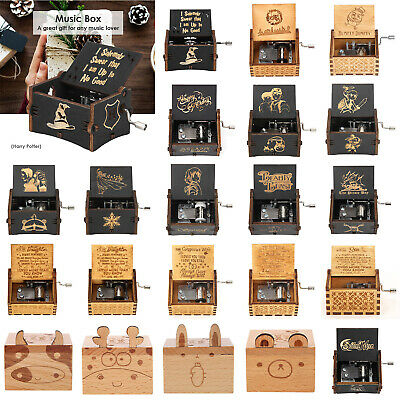 Wooden Music Box Harry Potter Game of Thrones Star Wars Engraved Toys Xmas Kids