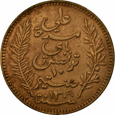 [#672049] Coin, Tunisia, Ali Bey, 10 Centimes, 1892, Paris, VF(30-35), Bronze
