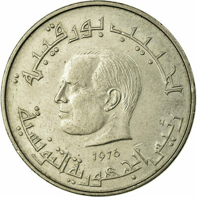 [#675624] Coin, Tunisia, 1/2 Dinar, 1976, Paris, VF(30-35), Copper-nickel
