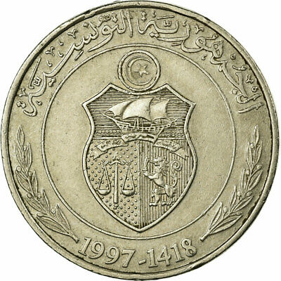 [#676031] Coin, Tunisia, Dinar, 1997, Paris, VF(30-35), Copper-nickel, KM:347