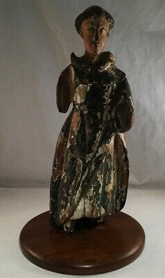Antique Carved Santos St Francis Religious Figure Painted Wood Statue On Stand