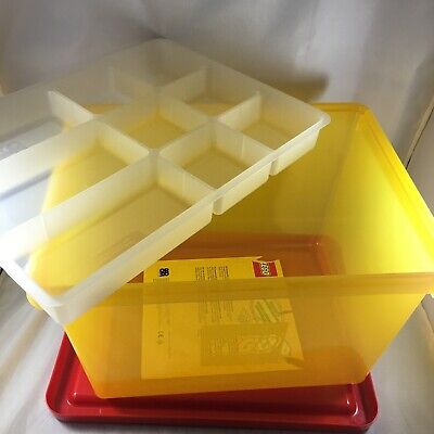 Lego Plastic Stackable Storage Box L Large 4094 W/ Sorting Tray Yellow Red Lid