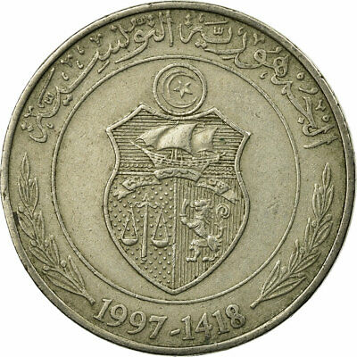 [#674092] Coin, Tunisia, Dinar, 1997, Paris, VF(30-35), Copper-nickel, KM:347