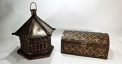Two Vintage Brass and Rattan Woven Baskets w/Lids