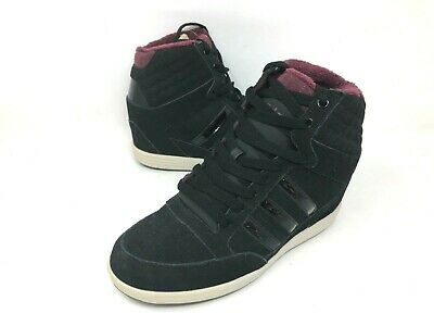 NEW! ADIDAS WOMEN'S Super Wedge Hightop Shoes BlackMaroon Size:8 #f98650 e2a a