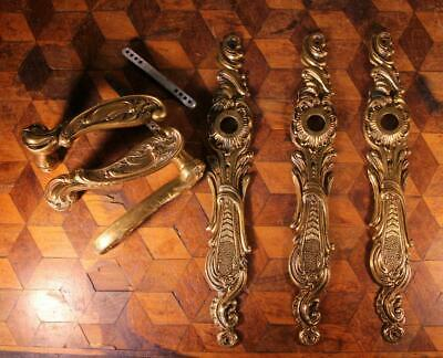 TRIO (3x) Vintage French Gilt Brass Door Handles Backplates Chateau Chic Rococo