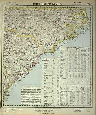 1883 Letts Map Eastern United States North Carolina Population New Hanover