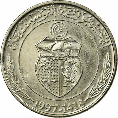 [#673758] Coin, Tunisia, 1/2 Dinar, 1997, Paris, EF(40-45), Copper-nickel
