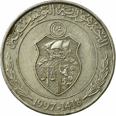 [#686712] Coin, Tunisia, Dinar, 1997/AH1418, Paris, EF(40-45), Copper-nickel