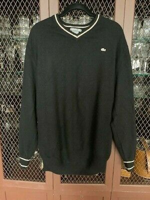 Vintage Lacoste Silver 100% Cashmere Tipped Sweater Black Size L or XL (6)