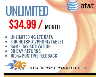 AT&T Unlimited 4G LTE HOTSPOT Data Plan $34.99 MONTH NO THROTTLING OR CAPS