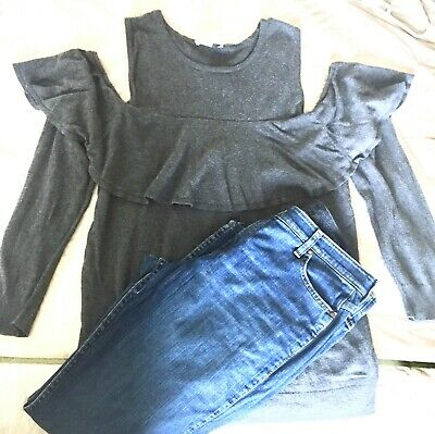 Women's XL/X-large Maternity Clothes 16 Shirt Top Jeans Outfit Gray Motherhood