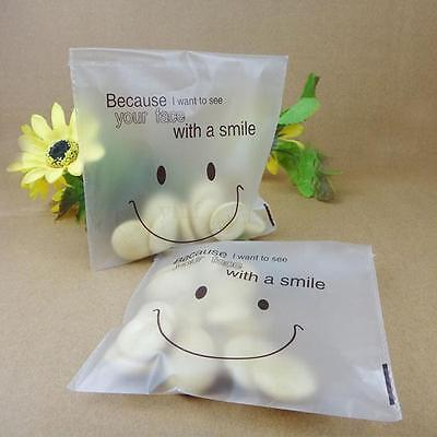 Plastic Smiley Face Cellophane Bags Bakery Gift Candy Soap Cookie Bags Clear N3