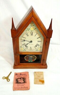 """Vintage Mid Century Seth Thomas """"The Sharon"""" Steeple Clock With Papers Wind Up"""