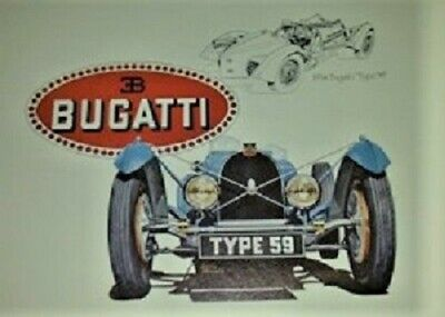 1934 Bugatti Type 59~Rare Lithograph Print~Drawing 77,Make $44 Offer & its yours