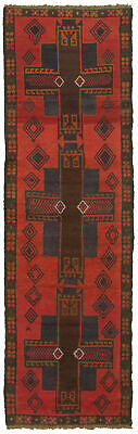 """Hand-knotted Carpet 2'5"""" x 8'0"""" Traditional Vintage Wool Rug"""