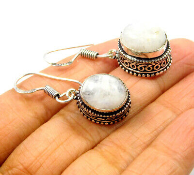 Rainbow Moonstone .925 Silver Plated Carving Earring Jewelry JC9200