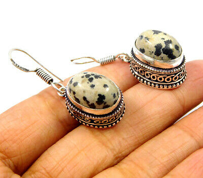 Cheetah Jasper .925 Silver Plated Carving Earring Jewelry JC9229