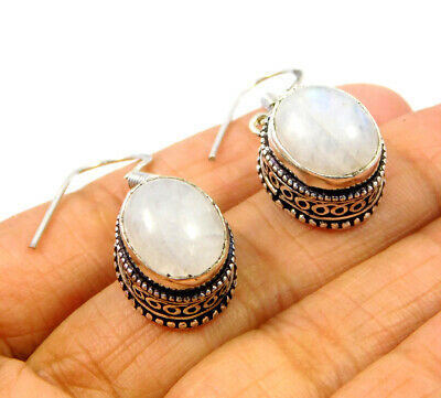 Rainbow Moonstone .925 Silver Plated Carving Earring Jewelry JC9201
