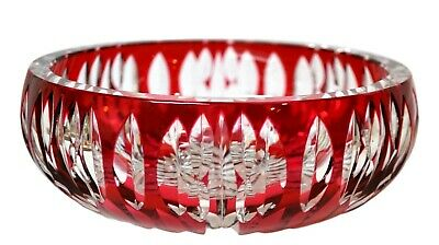 St. Louis Signed Incredible French Ruby / Cranberry Cut to Clear Crystal Lg Bowl