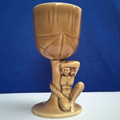 Art Deco Style 'Naked Lady' Light Brown Small Ceramic Wine Glass c.1970s