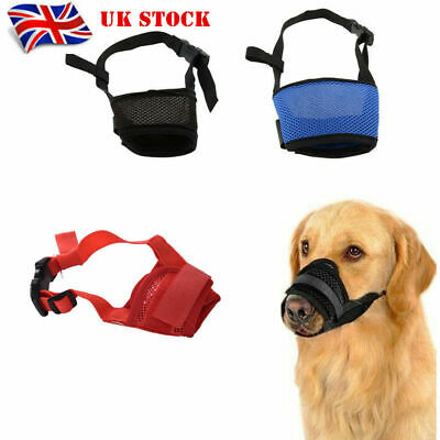 Dog Pet Puppy Safety Mouth Cover Muzzle Adjustable Stop Bit Chew Bark UK