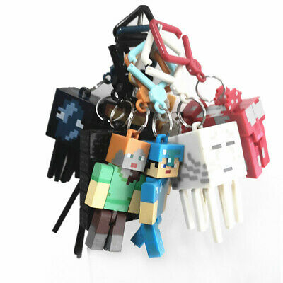 Series 1 Minecraft 3D Keyring Keychain Belt Bag Hangers Toy Figures 10Pcs 3inch