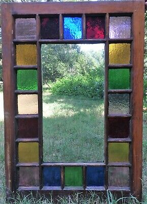 """Antique Victorian Stained Glass Queen Anne Sash Window 24""""x35"""" Red Gold Green"""