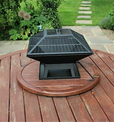 Firepit Large Square Steel Outdoor BBQ Camping Patio Home Outside Barbeque