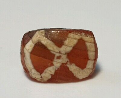 Ancient Rare Indo-Tibetan Etched Carnelian Agate Bead