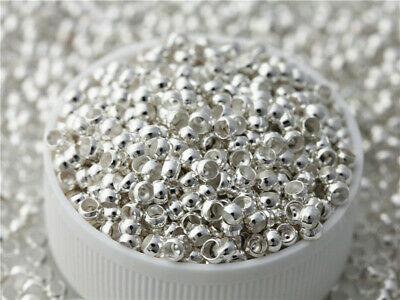 500pcs Silver Plated Beads For Jewelry make Spacers Findings Crimp End beads 3mm