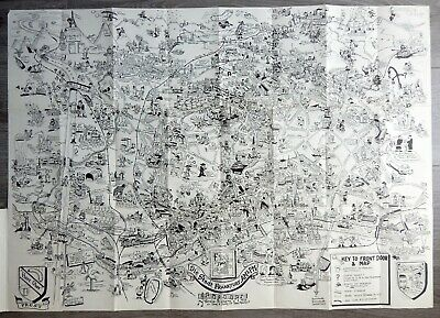 ORIGINAL Cartoon Illustrated pictorial map 1954 B.W. Burgess FRANKFURT Germany